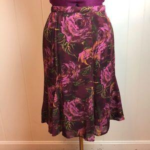 3/$27 Coldwater Creek Maroon Tulip Skirt w/ Roses